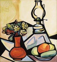 ALFREDO ZALCE (Mexican 1908-2003) Still Life with Lantern, 1971 Watercolor and pencil on paper 24