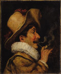 Fine Art - Painting, European:Antique  (Pre 1900), ROMAN ARREGUI (French, 1875-1932). Profile of a Man withPipe, 1815. Oil on board. 10-1/2 x 8 inches (26.7 x 20.3 cm).S...