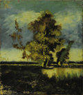 Paintings, FRENCH SCHOOL (Nineteenth Century) . Barbizon Landscape. Oil on wood board. 7-5/8 x 6-1/2 inches (19.3 x 16.5 cm). Signe...