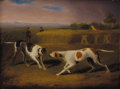 Fine Art - Painting, European:Antique  (Pre 1900), CHARLES TOWNE (British 1763-1840). Pair of Pointers. Oil onbeveled panel. 6 x 7-3/4 inches (15.2 x 19.7 cm). ...