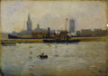 Fine Art - Painting, European:Modern  (1900 1949)  , EUGENE CHIGOT (French 1860-1927). Boats in the Harbor, 1905.Oil on wood panel. 9-1/4 x 13 inches (23.4 x 33.0 cm). Sign...