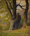 Fine Art - Painting, European, Attributed to LADISLAV BENESCG (Austrian 1845 -1922). Soldier onthe Lookout. Oil on cardboard. 6 x 4-1/2 inches (15.2 x...