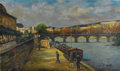 Fine Art - Painting, European:Modern  (1900 1949)  , FRANÇOIS GALL (French 1912-1987). Along the Seine. Oil on canvas. 10-7/8 x 18 inches (27.6 x 45.7 cm). Signed lower righ...