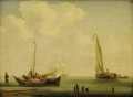 Fine Art - Painting, European:Antique  (Pre 1900), Attributed to ANDREAS SCHELFHOUT (Dutch, 1787-1870). FishingBoats. Oil on beveled mahogany board. 14-1/4 x 19-7/8 inche...