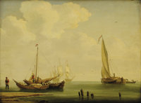 Attributed to ANDREAS SCHELFHOUT (Dutch, 1787-1870) Fishing Boats Oil on beveled mahogany board 1