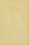 Fine Art - Painting, American:Modern  (1900 1949)  , GASTON LACHAISE (French-American 1882-1935). Large SeatedNude. Pencil on paper. 18 x 12 inches (45.7 x 30.5 cm).Signed...