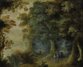 Paintings, Manner of GILLIS VAN CONINXLOO I (Dutch 1544-1607). Wooded Landscape with Hunter and Figures Strolling. Oil on copper . ...