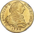 Colombia, Colombia: Charles III gold 8 Escudos 1774 P-JS MS63 NGC,...