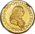 Colombia, Colombia: Ferdinand VI gold 2 Escudos 1758 PN-J MS61 NGC,...