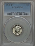 Mercury Dimes, 1945-D 10C MS65 PCGS. This lot will also include a: 1945-S 10C MS65 PCGS.... (Total: 2 coins)