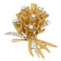 Estate Jewelry:Brooches - Pins, Diamond, Platinum, 18k Gold Clip Brooch. ...