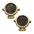 Estate Jewelry:Earrings, Ancient Coin, Diamond, Sapphire, Gold Earrings. ...
