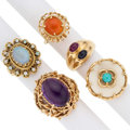 Estate Jewelry:Rings, Multi-Stone, Gold Rings. ... (Total: 5 Items)