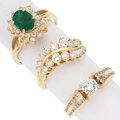 Estate Jewelry:Rings, Emerald, Diamond, Gold Rings. ... (Total: 3 Items)