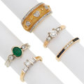 Estate Jewelry:Rings, Diamond, Multi-Stone, Gold Rings . ... (Total: 5 Items)