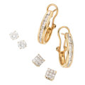 Estate Jewelry:Earrings, Diamond, Gold Earrings. ... (Total: 3 Items)