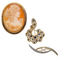 Estate Jewelry:Brooches - Pins, Diamond, Sapphire, Cultured Pearl, Shell Cameo, Gold Brooches. ... (Total: 3 Items)