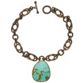 Estate Jewelry:Necklaces, Turquoise, Yellow Metal Necklace, Stephen Dweck. ...