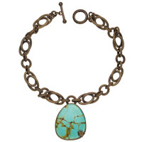 Turquoise, Yellow Metal Necklace, Stephen Dweck