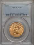 1893 $10 MS62 PCGS. PCGS Population: (8657/3080). NGC Census: (14024/8014). MS62. Mintage 1,840,895. From The Digiova...