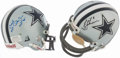 Football Collectibles:Helmets, Troy Aikman and Mel Renfro Signed Dallas Cowboys Mini Helmets....