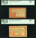 Colonial Notes:Pennsylvania, Two Red and Black Pennsylvania April 10, 1777 Notes - 3s PCGS Extremely Fine 40 & 40s PCGS Extremely Fine 45.. ... (Total: 2 notes)