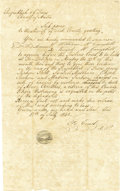 Autographs:Statesmen, Friedrich Ernst: Autograph Document Signed Regarding a CelebratedTexas Murder Case....