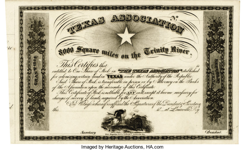 Texas Association) A Blank Stock Certificate for the | Lot #56114 ...