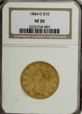 Liberty Eagles: , 1844-O $10 VF35 NGC. NGC Census: (10/291). PCGS Population(19/136). Mintage: 118,700. Numismedia Wsl. Price for NGC/PCGS c...