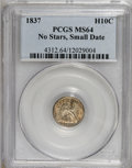 Seated Half Dimes, 1837 H10C Small Date (Flat Top 1) MS64 PCGS....