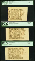 Colonial Notes:Rhode Island, Three Uncirculated Rhode Island May 1786 Notes - 6d PCGS Choice New63, 9d PCGS Choice New 63 & 1s PCGS Very Choice New 64....(Total: 3 notes)