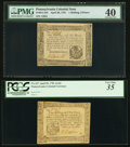 Colonial Notes:Pennsylvania, Two Pennsylvania April 20, 1781 Notes - 1s 6d PMG Extremely Fine 40& 2s 6d PCGS Very Fine 35.. ... (Total: 2 notes)