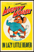 "Movie Posters:Animation, Mighty Mouse (20th Century Fox, 1943). One Sheet (27"" X 41"") ""LazyLittle Beaver."" Animation.. ..."