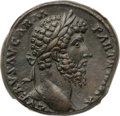 Ancients:Roman Imperial, Ancients: Lucius Verus (AD 161-169). Æ sestertius (30mm, 24.55 gm,4h). NGC Choice XF 5/5 - 5/5....