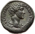 Ancients:Roman Imperial, Ancients: Marcus Aurelius, as Caesar (AD 139-161). AE sestertius(32mm, 27.08 gm, 5h). About XF....
