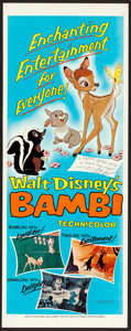 "Movie Posters:Animation, Bambi (Buena Vista, R-1966). Insert (14"" X 36""). Animation.. ..."