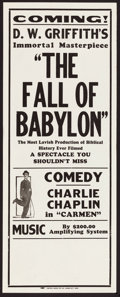"Movie Posters:Drama, The Fall of Babylon/Charlie Chaplin in Carmen Combo (David W. Griffith Corp., R-1920s). Broadside (10.75"" X 28""). Drama.. ..."
