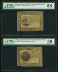 Colonial Notes:Continental Congress Issues, Two Continental Currency September 26, 1778 Counterfeit DetectorNotes - $5 PMG Choice About Unc 58 & $7 PMG Choice About Unc...