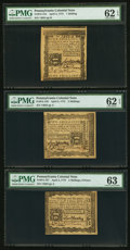 Colonial Notes:Pennsylvania, Three Pennsylvania April 3, 1772 Notes - 1s PMG Uncirculated 62EPQ, 2s PMG Uncirculated 62 EPQ & 2s6d PMG ChoiceUncirculated... (Total: 3 notes)