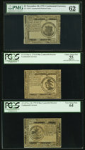 Colonial Notes:Continental Congress Issues, Three Counterfeit Detector Notes - Continental Currency November 29, 1775 $1 PMG Uncirculated 62, November 29, 1775 $5 PCGS Ve... (Total: 3 notes)