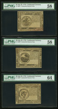 Colonial Notes:Continental Congress Issues, Three Counterfeit Detectors - Continental Currency July 22, 1776 $5 PMG Choice About Unc 58, $6 PMG Choice About Unc 58 & $8 P... (Total: 3 notes)