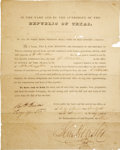 Autographs:Statesmen, [Broadside] Executive order signed by President Sam Houston andSecretary Of State Robert A. Irion commissioning J. Walker to ...