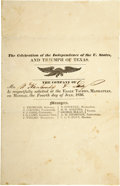 Military & Patriotic:Pre-Civil War, Eagle Tavern, Manhattan, Ohio, Celebrates the Independence of the United States and the Triumph of Texas....