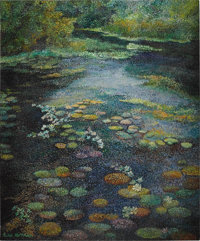 RITA HOFFMAN SHULAK (American 20th Century) Vancouver's Water Lily Pond, an Inspiration Oil on canvas 24 x 19-1/2i