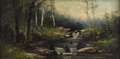Fine Art - Painting, European, ERICH THEODOR HOLTZ (German 1885-1956). Mountain Stream. Oil on original unlined canvas. 14-1/4 x 28 inches (36.2 x 71.1...