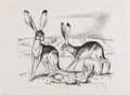 Texas:Early Texas Art - Regionalists, OTIS DOZIER (1904-1987). Jack Rabbits. Lithograph on paper.10-1/2 x 13 inches (26.7 x 33.0 cm). Signed lower right. Tit...