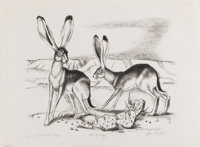OTIS DOZIER (1904-1987) Jack Rabbits Lithograph on paper 10-1/2 x 13 inches (26.7 x 33.0 cm) S