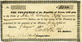 Autographs:Military Figures, Francis Lubbock Signed Republic of Texas Scrip...