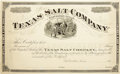 Autographs:Statesmen, Texas Salt Company Unissed Stock Certificate 188_.. ...