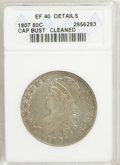 Bust Half Dollars, 1807 50C Large Stars, 50 Over 20--Cleaned--ANACS. XF40 Details....